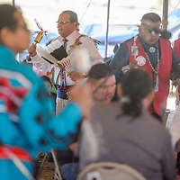 Head dancer Milton Yazzie leads the 8th Annual All Veterans Gourd Dance in Twin Lakes Sept. 17.