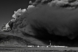 Volcanic eruption, Eyjafjallajokull, Iceland. Farms under the volcanic ash clouds