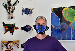 South Africa - Pretoria - 14 August 2020 - Artist Retha Buitendach pose next to her Fibre  Art masks exhibition currently showing at Johann van Heerden's Art Gallery in Garsfontein.<br /> <br /> Picture: Thobile Mathonsi/African News Agency(ANA)