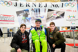 Jernej Slivnik with classmates from Gimnazija Jesenice prior to the departure of Slovenian Paralympic team for Pyeongchang 2018 Winter Paralympics, on March 3, 2018 in Letalisce Jozeta Pucnika, Brnik, Slovenia. Photo by Vid Ponikvar / Sportida