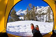 Winter camp view, John Muir Wilderness, Sierra Nevada Mountains, California USA