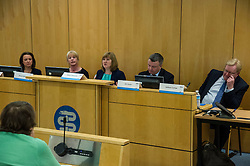 Pictured: Jenny Marra (Labour), Shona Robison (SNP), Alison Johnstone (Greens), Jim Hume (Liberal Democrats) and Jackson Carlaw (Conservative)<br /> <br /> Health spokemen and women participated in the BMA's Scotland health hustings tonight in Edinburgh. Among those attending were Shona Robison, Jenny Marra, Jim Hume, Alison Johnstone and Jackson Carlaw. Staff from all levels in the NHS took the opportunity to challenge the health spokepersons on what they would do if elected in the General Election next month<br /> <br /> Ger Harley | EEm 23 March 2016