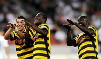Fotball<br /> Sveits<br /> 2009<br /> Foto: EQ Images/Digitalsport<br /> NORWAY ONLY<br /> <br /> Young Boys Xavier Hochstrasser, Torschuetze Seydou Doumbia und Joetex Frimpong jubeln nach dem Tor zum 2:3