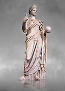 """Statue of Juno known as La Providence, a 2nd century AD Roman sculpture from Rome, Italy. Juno is an ancient Roman goddess, the protector and special counselor of the state. As the patron goddess of Rome and the Roman Empire, Juno was called Regina (""""Queen"""") and, together with Jupiter and Minerva, was worshipped as a triad on the Capitol (Juno Capitolina) in Rome. The Royal Collection Inv No. MR 333 or Ma 485, Louvre Museum, Paris. .<br /> <br /> If you prefer to buy from our ALAMY STOCK LIBRARY page at https://www.alamy.com/portfolio/paul-williams-funkystock/greco-roman-sculptures.html- Type -    Louvre    - into LOWER SEARCH WITHIN GALLERY box - Refine search by adding a subject, place, background colour,etc.<br /> <br /> Visit our CLASSICAL WORLD HISTORIC SITES PHOTO COLLECTIONS for more photos to download or buy as wall art prints https://funkystock.photoshelter.com/gallery-collection/The-Romans-Art-Artefacts-Antiquities-Historic-Sites-Pictures-Images/C0000r2uLJJo9_s0c"""