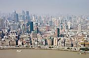 Shanghai skyline including the Bund embankment, China