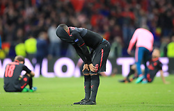 Arsenal's Alexandre Lacazette shows his dejection after the final whistle during of the UEFA Europa League, Semi Final, Second Leg at Wanda Metropolitano, Madrid.