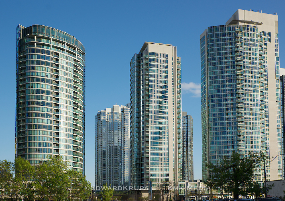 Part of the Cityplace condominium development in Toronto. Built  on former railway lines, when completed will be the largest residential development in Toronto's history.