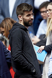 April 6, 2018 - Valencia, Valencia, Spain - Gerard Pique football player of FC Barcelona attends the match between David Ferrer of Spain and Alexander Zverev of Germany during day one of the Davis Cup World Group Quarter Finals match between Spain and Germany at Plaza de Toros de Valencia on April 6, 2018 in Valencia, Spain  (Credit Image: © David Aliaga/NurPhoto via ZUMA Press)