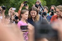 19 JUL 2019, BERLIN/GERMANY:<br /> Greta Thunberg (L), Klimaschutzaktivistin aus Schweden, und Luisa-Marie Neubauer (R), Klimaschutzaktivistin und führenden Aktivistin der Initiative Fridays for Future, waehrend einer Demonstration von Schuelern und Jugendlichen fuer einen besseren Schutz des Klimas, Invalidenpark<br /> IMAGE: 20190719-01-070<br /> KEYWORDS: Demo, Protest, Klimaschutz, Klimawandel, Schüler, climate
