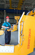 Kone Cranes' Automation Designer Minh KY operates an Heavy Duty Semi-Automatic 60 + 60 ton Kone Crane in Oji Paper Factory, in Nantong, Jiangsu province, China, on May 25, 2010. Photo by Lucas Schifres/Pictobank