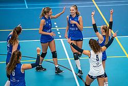 Carlijn Ghijssen-Jans #10 of Sliedrecht Sport, Rochelle Wopereis #7 of Sliedrecht Sport, Kirsten Wessels #3 of Sliedrecht Sport in action during the supercup semifinal between VC Sneek and Sliedrecht Sport on October, 03 2020 in Van der Knaaphal, Ede