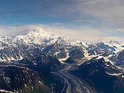 Aerial view of Denali (Mt. McKinley), the Tokositna Glacier and the Alaska Range on a sightseeing flight from Talkeetna, Alaska.