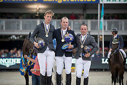 Podium 6 years of age horses, O Neill Gerard, IRL, De Boer Julian, NED, Goffinet THierry, BEL<br /> FEI World Breeding Jumping Championships for Young horses - Lanaken 2016<br /> © Hippo Foto - Dirk Caremans<br /> 18/09/16