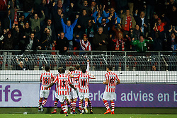 (L-R) fans of Sparta, Craig Goodwin of Sparta Rotterdam, Sherel Floranus of Sparta Rotterdam, Ryan Sanusi of Sparta Rotterdam, Loris Brogno of Sparta Rotterdam, Sander Fischer of Sparta Rotterdam during the Dutch Eredivisie match between sbv Excelsior Rotterdam and Sparta Rotterdam at Van Donge & De Roo stadium on October 21, 2017 in Rotterdam, The Netherlands