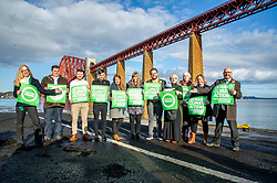 Pictured: Co leaders Lorna Slater and Patrick Harvie presented their party's candidates for ythe upcoming election<br /><br />The party's co-leaders, Patrick Harvie and Lorna Slater, were joined  by candidates as they gathered at the iconic Forth Bridge to launch their general election campaign, demanding climate action.<br /><br />Ger Harley | EEm 8 November 2019