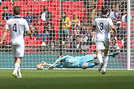 Martin Horsell (Hereford FC) makes a full length save to keep the score at 3-1 to Morpeth Town during the FA Vase match between Hereford and Morpeth Town at Wembley Stadium, London, England on 22 May 2016. Photo by Mark Doherty.