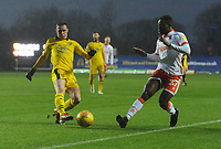 Blackpool's Marc Bola vies for possession with Oxford United's Gavin Whyte<br /> <br /> Photographer Kevin Barnes/CameraSport<br /> <br /> The EFL Sky Bet League One - Oxford United v Blackpool - Saturday 15th December 2018 - Kassam Stadium - Oxford<br /> <br /> World Copyright © 2018 CameraSport. All rights reserved. 43 Linden Ave. Countesthorpe. Leicester. England. LE8 5PG - Tel: +44 (0) 116 277 4147 - admin@camerasport.com - www.camerasport.com