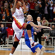 Galatasaray's Seimone AUGUSTUS (L) during their woman Euroleague group C matchday 9 Galatasaray between Halcon Avenida at the Abdi Ipekci Arena in Istanbul at Turkey on Wednesday, January 12 2011. Photo by TURKPIX