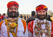 Rajasthani men  in traditional costumes at the Desert Festival on 29th January 2018  in Jaisalmer, Rajasthan, India. It is an annual event that take place in February, three days prior to the full moon. The men flaunt their moustaches, which go well with the Rajputana spirit that symbolizes the valor and glory of Rajasthan.
