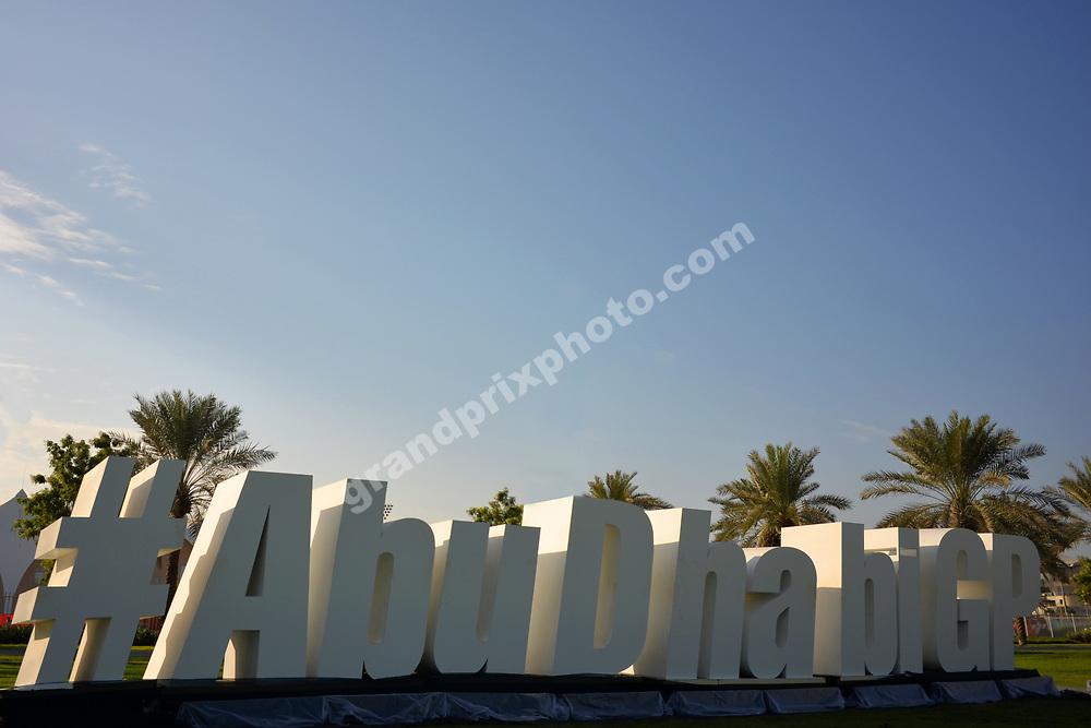 Sign and blue skies before the 2017 Abu Dhabi Grand Prix at the Yas Marina circuit. Photo: Grand Prix Photo