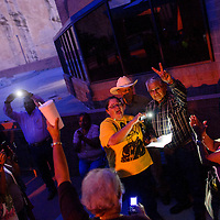 072115       Cable Hoover<br /> <br /> Anthony Allison and Becky Nave-Cling read a statement from the Navajo Voters Coalition after voting results were announced Tuesday at the Navajo Nation Museum in Window Rock.