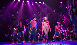 © Licensed to London News Pictures. 11/10/2012. London, England. Pictured: Eliza Hope Bennett and Aaron Sidwell. LOSERVILLE, a new original British musical created by Elliot Davis and James Bourne, is set in 1971 in an American High School and features Aaron Sidwell (EastEnders), Eliza Hope Bennett (Nanny McPhee), Stewart Clarke, Charlotte Harwood (Hollyoaks), Richard Lowe, Lil' Chris (Rock School) and Daniel Buckley. Photo credit: Bettina Strenske/LNP
