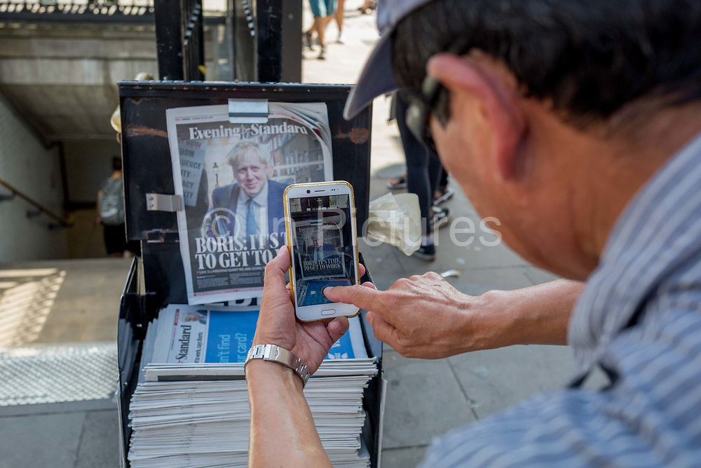 On the day that the Conservative Party elects its leader and the countrys Prime Minister, Boris Johnson appears on the front page of the London newspaper The Evening Standard, on 23rd July 2019, in Westminster, London, England.