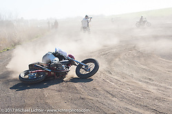 Going down during warmup for Brat Style's flat track racing at West Point Offroad Village. Kawagoe, Saitama. Japan. Wednesday December 6, 2017. Photography ©2017 Michael Lichter.