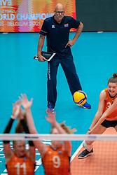 Coach Marko Klok of Netherlands in action during semi final Netherlands - Serbia, FIVB U20 Women's World Championship on July 17, 2021 in Rotterdam