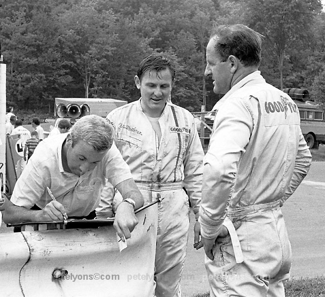 McLaren team manager Teddy Mayer, left, and drivers Bruce McLaren and Denny Hulme at the 1969 St. Jovite-Mt. Tremblant Can-Am.