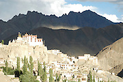 India, Ladakh region state of Jammu and Kashmir, Lamayaru, the exterior of the monastery and the agriculture fields around