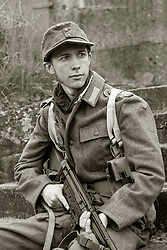 German Panzer Grenadier wearing M42 tunic  and armed with  STG 44, Eastern front 1943 on - Nww2A Fort Paull<br /> <br />  Copyright Paul David Drabble <br /> 5th & 6th May 2019<br />  www.pauldaviddrabble.co.uk