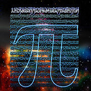 Digitally enhanced image of Greek letter Pi mathematical sign in space with the first thousand digits of the number in the background