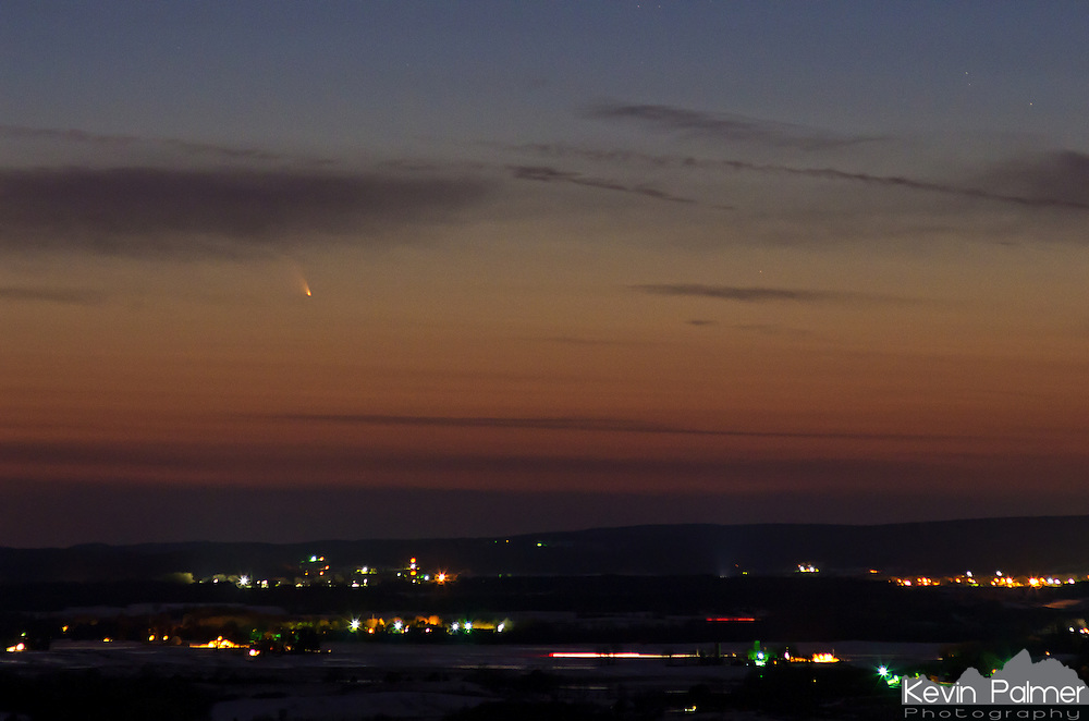 In early March, Comet Panstarrs rounded the sun and became visible in the northern hemisphere. Even though it was quite bright at magnitude 0, it was a challenge to see. It was only visible for a short time after sunset, and then it slipped beneath the horizon. This shot was taken on March 13th from Gibraltar Rock, Wisconsin, which is a 400 foot high bluff with a great view to the west. This comet will not return to the solar system for 106,000 years.
