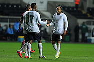 England's Nathan Redmond (11) celebrates after he scores his 3rd goal for his hat trick. UEFA 2015 European U21 championship, group one qualifier , Wales u21 v England u21 at the Liberty Stadium in Swansea, South Wales on Monday 19th May 2014. <br /> pic by Andrew Orchard, Andrew Orchard sports photography.