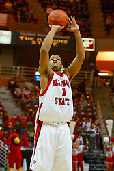 15 January 2005<br /> <br /> Lorenzo Gordon gets to shoot from the line and collect a couple freebies on his way to scoring 21 points as the Illinois State University Redbirds keep the Drake Bulldogs on a leash as they pull ahead in the 2nd half for a74 - 61 Victory.  Redbird Arena, Illinois State University, Normal IL
