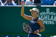 Angelique Kerber of Germany  waves to the crowd during the Nature Valley International at Devonshire Park, Eastbourne, United Kingdom on 27 June 2018. Picture by Martin Cole.