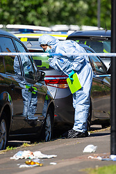 A forensics investigator examines a car adjacent to where it appears the attack took place at the scene at the intersection of Cole Crescent and Scott Crescent in Harrow where a 17-year-old was stabbed on the night of Sunday 10th June, leaving him in critical condition. June 11 2018.