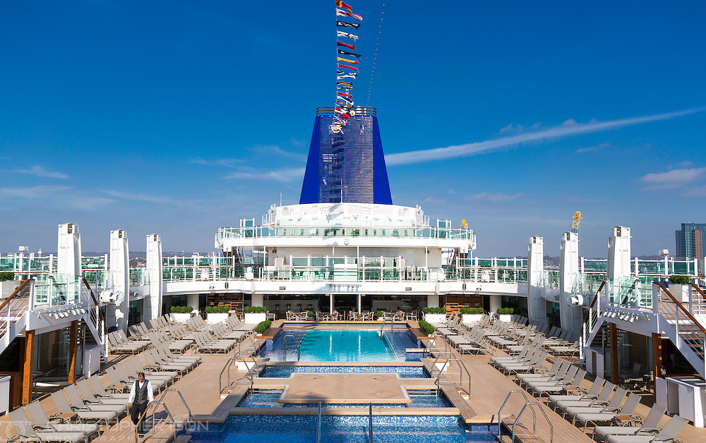 A view of the pools and sun deck on board P&O Cruises' newest ship, Britannia, which arrived into her home port of Southampton on Friday. She will be named by Her Majesty the Queen on Tuesday. She is the largest vessel in the P&O fleet, capable of carrying 3600 passengers, and is the biggest ship built to serve the british cruise market.<br /> Picture date: Saturday March 7, 2015.<br /> Photograph by Christopher Ison ©<br /> 07544044177<br /> chris@christopherison.com<br /> www.christopherison.com