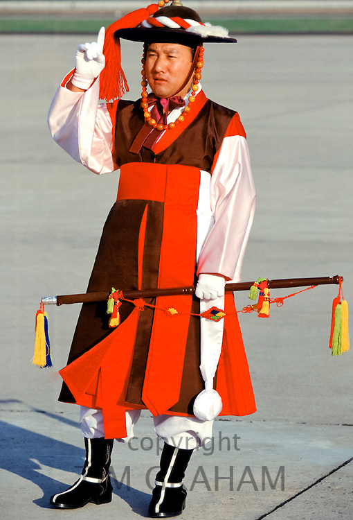 South Korean man in traditional costume at festival in Seoul, South Korea