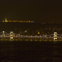 Photo of the Chain Bridge during the Earth Hour in Budapest, Hungary on March 23, 2013. ATTILA VOLGYI