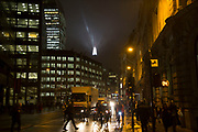 London's tallest skyscraper, the Shard, beams out spotlights in the distance in the City of London as part of a light show creating a public art installation in the sky on 13th December 2016 in London, England, United Kingdom. (photo by Mike Kemp/In Pictures via Getty Images)