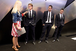 Maja Tratnik, Zlatko Dedic, Zlatan Ljubijankic and Robert Koren of Slovenian National Football team at presentation of  official Dirk  Bikkembergs fashion collection, on May 20, 2010 in Ciytpark, BTC, Ljubljana, Slovenia. (Photo by Vid Ponikvar / Sportida)