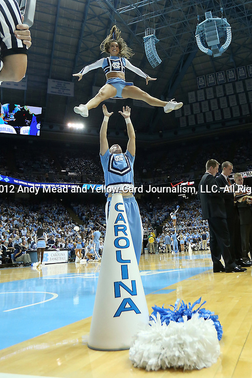 09 November 2012: UNC cheerleaders. The University of North Carolina Tar Heels played the Gardner-Webb University Runnin' Bulldogs at Dean E. Smith Center in Chapel Hill, North Carolina in an NCAA Division I Men's college basketball game. UNC won the game 76-59.