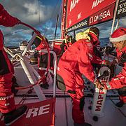 Leg 3, Cape Town to Melbourne, day 15, Sophie Ciszek on board MAPFRE. Photo by Jen Edney/Volvo Ocean Race. 24 December, 2017.