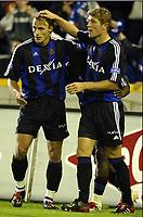 BRUGGE, 27/09/2003<br /> CLUB BRUGGE vs SK BEVEREN / FC BRUGGE vs SK BEVEREN /<br /> GERT VERHEYEN & BENGT SÆTERNES & ANDRES MENDOZA<br /> PICTURE BY NICO VEREECKEN<br /> Photo. Digitalsport