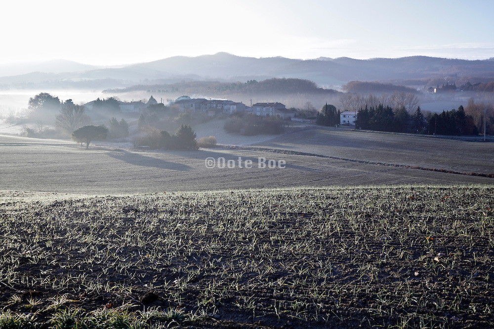 early morning fog landscape France Aude Razes