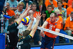 10-08-2019 NED: FIVB Tokyo Volleyball Qualification 2019 / Belgium - Netherlands, Rotterdam<br /> Third match pool B in hall Ahoy between Belgium vs. Netherlands (0-3) for one Olympic ticket / Wouter Ter Maat #16 of Netherlands