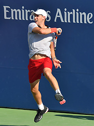 August 29, 2018 - Flushing Meadow, NY, U.S. - FLUSHING MEADOW, NY - AUGUST 29:  Dominic Thiem (AUT) in action defeating Steve Johnson (USA) in five sets during the second round of the Men's Singles Championships at the US Open on August 29, 2018, played at the Billie Jean King Tennis Center, Flushing Meadow, NY.  (Photo by Cynthia Lum/Icon Sportswire) (Credit Image: © Cynthia Lum/Icon SMI via ZUMA Press)
