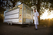 Sunset at Alecs burger van along the A12 on the 26th October 2009 in Lowestoft in the United Kingdom. Before venturing into the roadside service trade, Alec worked as a professional falconer, exhibiting birds of pray through Great Britain. Setting up the burger van is a slow move into retirement.
